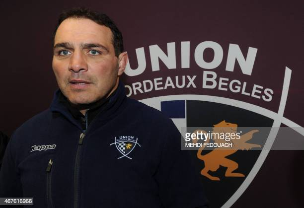 BordeauxBegles club's French coach Raphael Ibanez speaks to journalists during a press conference on March 26 2015 in Begles southwestern France...