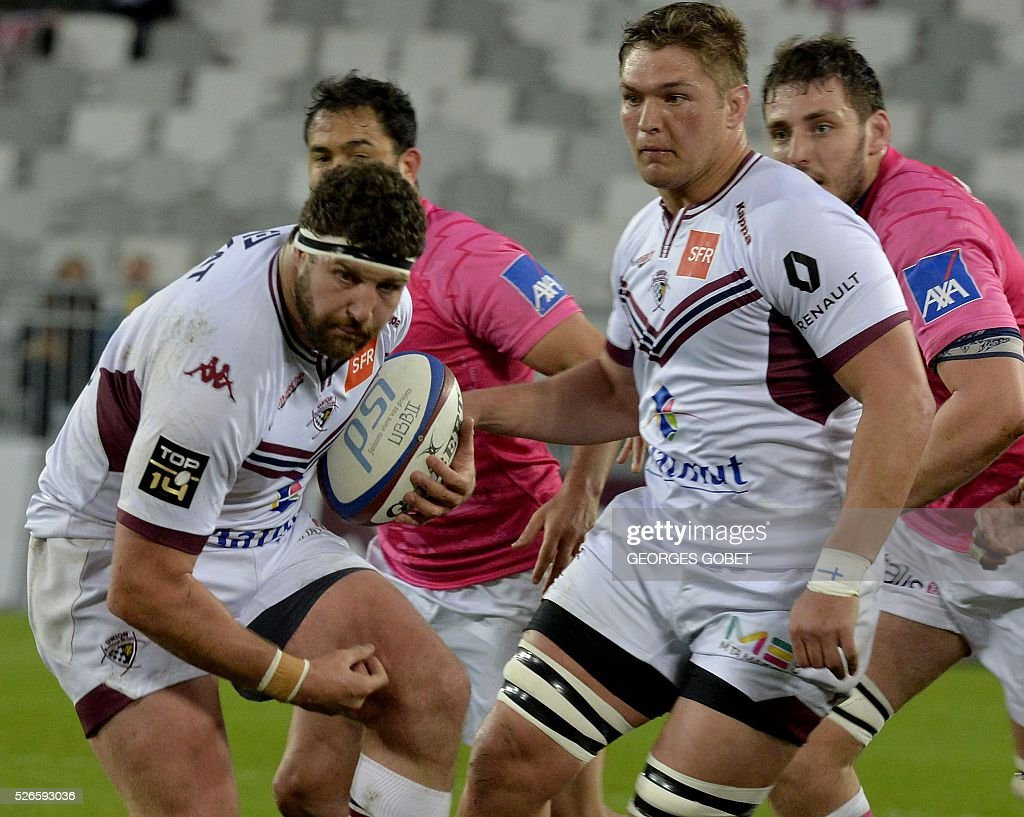 Bordeaux-Begles' French hooker Clement Maynadier plays the ball during the French Top 14 rugby union match Bordeaux-Begles vs Stade Fran��ais on April 30, 2016 at the Matmut Atlantique Stadium in Bordeaux.