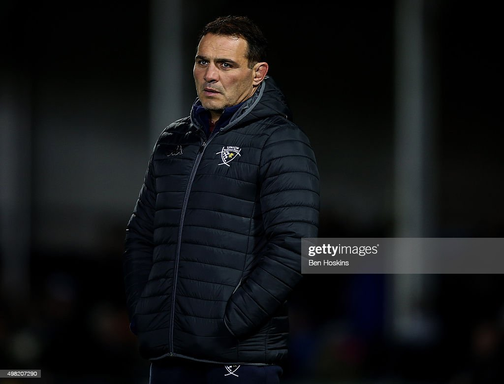 Bordeaux-Begles head coach Raphael Ibanez looks on ahead of the European Rugby Champions Cup match between Exeter Chiefs and Bordeaux-Begles at Sandy Park on November 21, 2015 in Exeter, England.