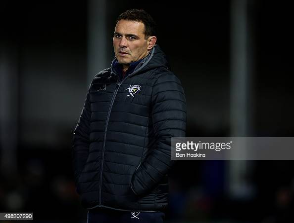 BordeauxBegles head coach Raphael Ibanez looks on ahead of the European Rugby Champions Cup match between Exeter Chiefs and BordeauxBegles at Sandy...