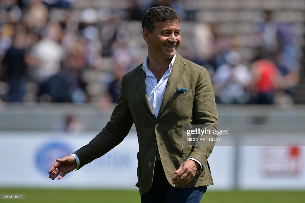 Bordeaux-Begles' rugby union club French president Laurent Marti attends the warm up of the French Top 14 rugby union match between Bordeaux-Begles and Brive on May 28, 2016 at the Chaban-Delmas stadium in Bordeaux, southwestern France.
