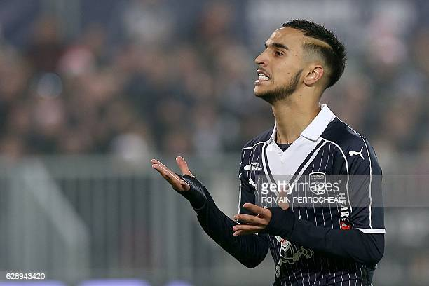 Bordeaux's Algerian midfielder Adam Ounas reacts during the French L1 football match Bordeaux vs Monaco on December 10 2013 at the Matmut Atlantique...