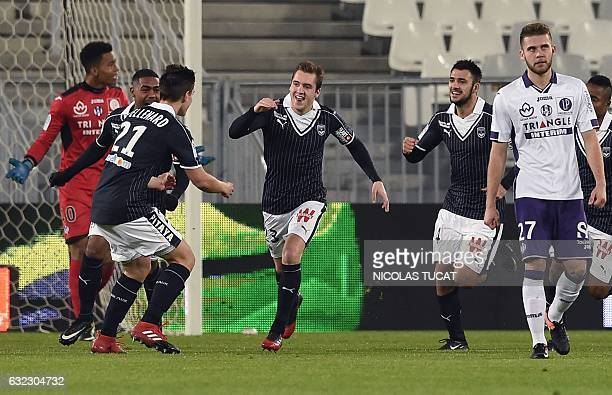 Bordeaux's Argentinian midfielder Valentin Vada celebrates after scoring a goal during the French L1 football match Dijon vs Lille on January 21 at...