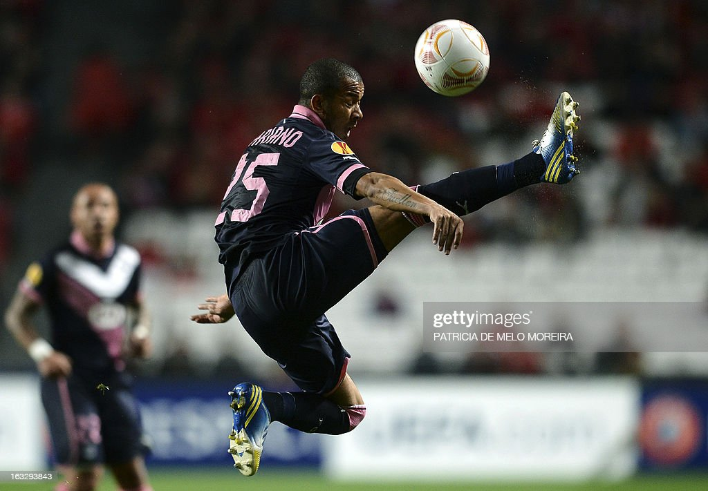 Bordeaux's Brazilian defender Ferreira Filho Mariano controls the ball during the UEFA Europa League round of 16 first leg football match SL Benfica vs FC Girondins de Bordeaux at the Luz stadium in Lisbon on March 7, 2013.