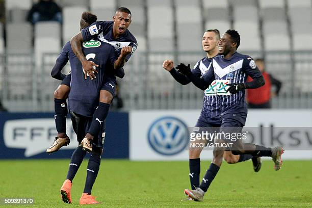 Bordeaux's Brazilian forward Malcom celebrates after scoring a goal during the French Cup round of 16 football match between Bordeaux and Nantes on...