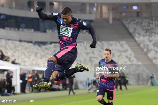Bordeaux's Brazilian forward Malcom celebrates after scoring a goal during the French Cup football match between Bordeaux and Dijon on January 31...