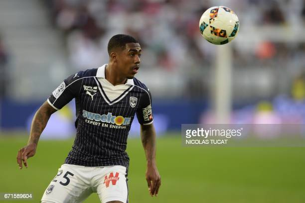 Bordeaux's Brazilian forward Malcom controls the ball during the French L1 football match between Bordeaux and Bastia on April 22 2017 at the Matmut...