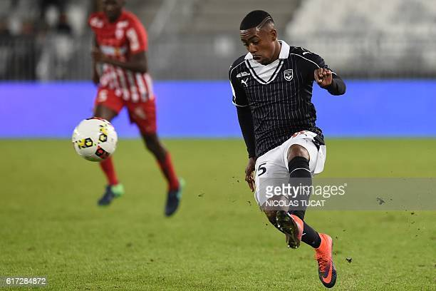 Bordeaux's Brazilian forward Malcom kicks the ball during the French Ligue 1 football match between Bordeaux and Nancy on October 22 2016 at the...