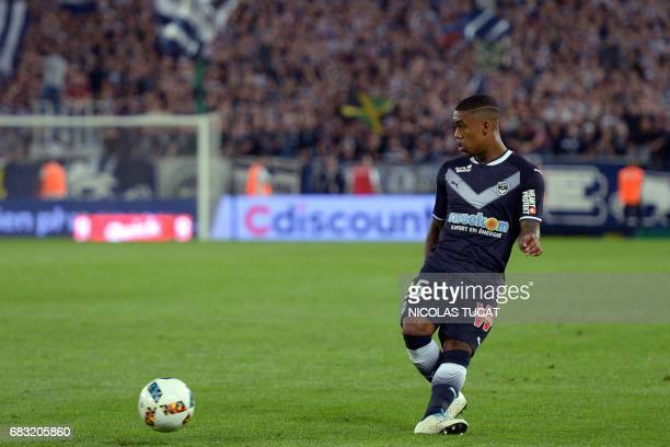 Bordeaux's Brazilian forward Malcom passes the ball during the French Ligue 1 football match between Bordeaux and Marseille on May 14 2017 at the...
