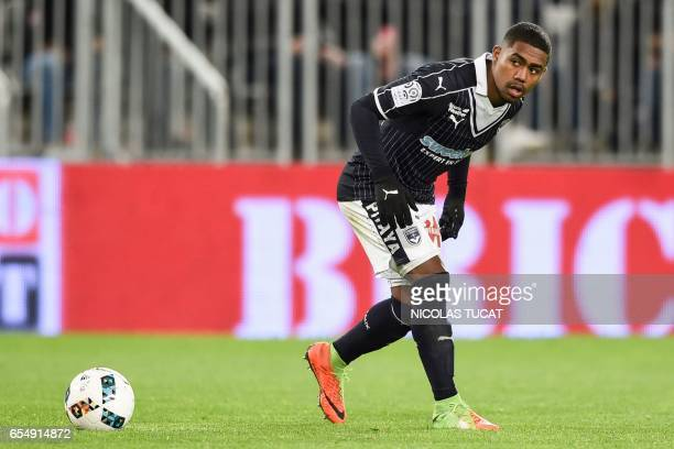 Bordeaux's Brazilian forward Malcom prepares for a free kick during the French L1 football match between Bordeaux and Montpellier on March 18 2017 at...