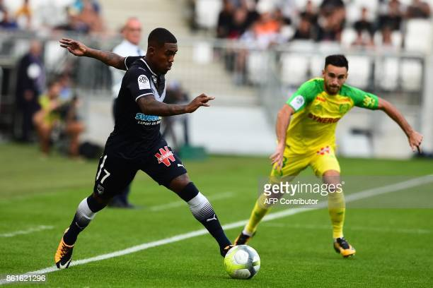 Bordeaux's Brazilian forward Malcom runs with the ball during the French L1 football match between Bordeaux and Nantes on October 15 2017 at the...
