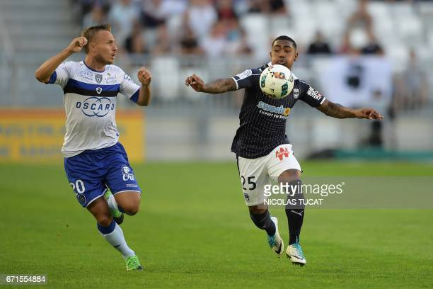 Bordeaux's Brazilian forward Malcom vies with Bastia's Swedish midfielder Pierre Bengtsson during the French L1 football match between Bordeaux and...