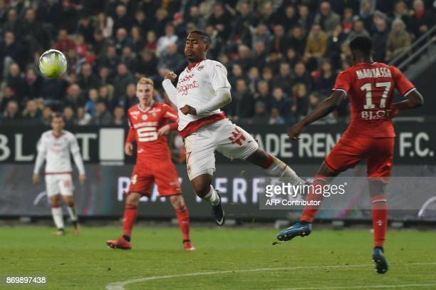 Bordeaux's Brazilian forward Malcom vies with Rennes' French midfielder Faitout Maouassa during the French L1 football match between Rennes and...