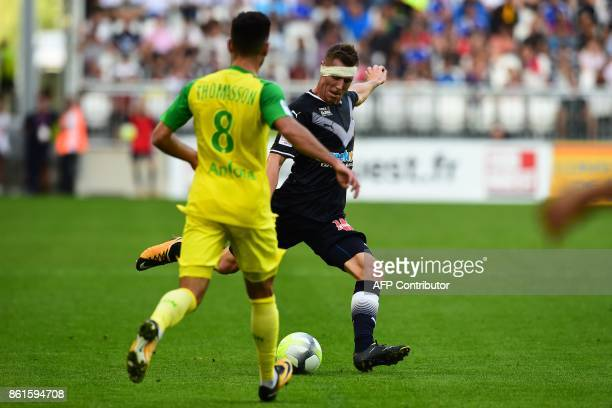 Bordeaux's Danish midfielder Lukas Lerager kicks the ball during the French Ligue 1 football match between Bordeaux and Nantes on October 15 2017 in...
