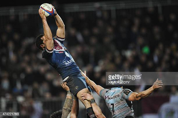Bordeaux's flanker Madaule grabs the ball in a line out during the French Top 14 rugby union match BordeauxBegles vs Racing Metro 92 on Fevruary 22...