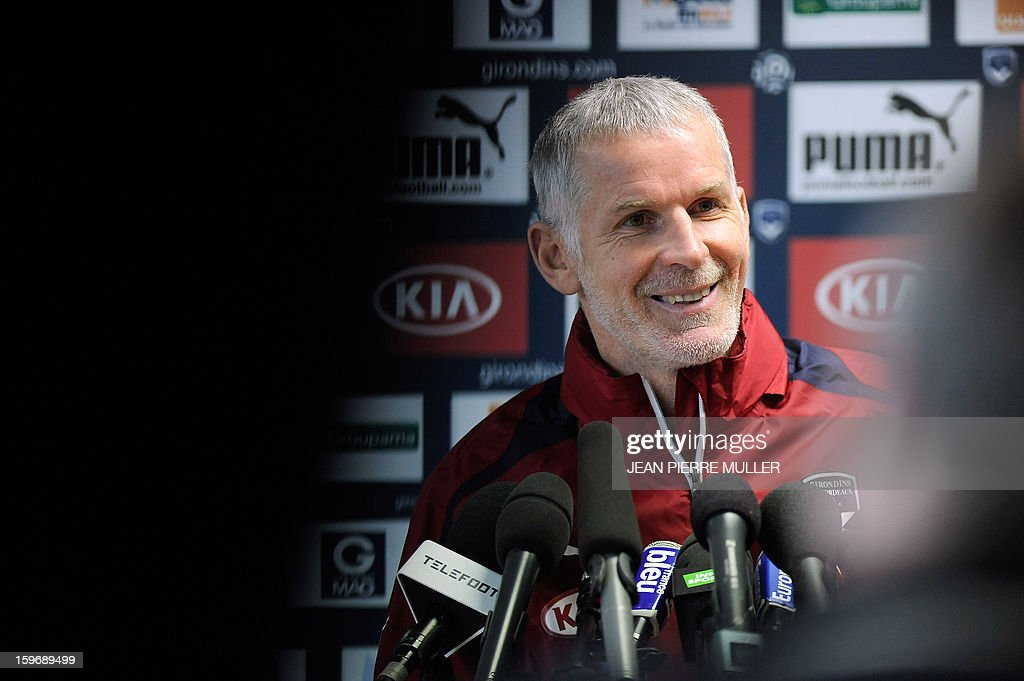 Bordeaux's football club head coach Francis Gillot takes part in a press conference on January 18, 2013 in Le Haillan, southwestern France, two days ahead the French L1 football match Bordeaux vs Paris-Saint-Germain on Sunday. MULLER