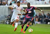 Bordeaux's French defender Maxime Poundje vies with Liverpool's forward Jordon Ibe during the UEFA Europa League Group B football match Bordeaux vs...
