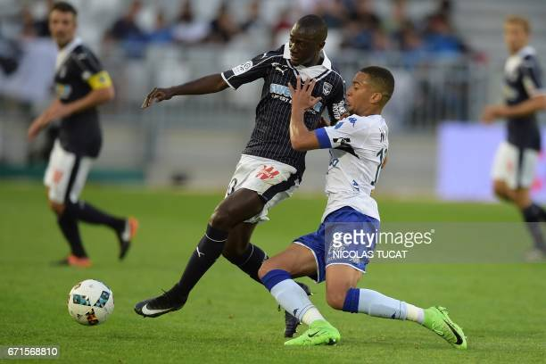 Bordeaux's French defender Youssouf Sabaly vies with Bastia's French midfielder Lenny Nangis during the French L1 football match between Bordeaux and...
