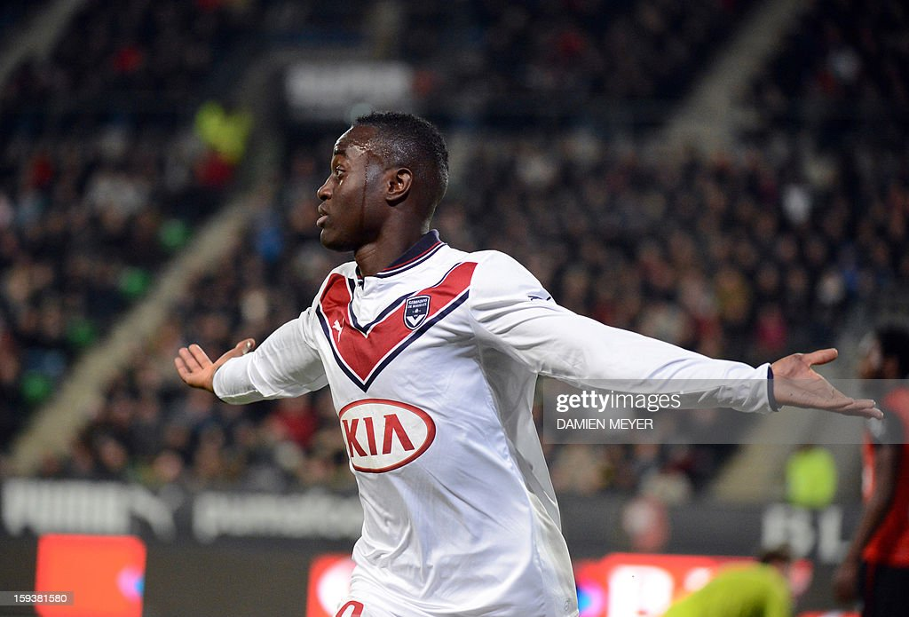 Bordeaux's French forward Henri Saivet reacts after scoring a goal during the French L1 football match between Rennes and Bordeaux on January 12, 2013, at the Route de Lorient stadium in Rennes, western France.