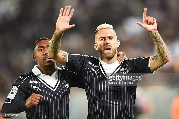 Bordeaux's French forward Jeremy Menez celebrates after scoring a goal during the French Ligue 1 football match between Bordeaux and Nancy on October...