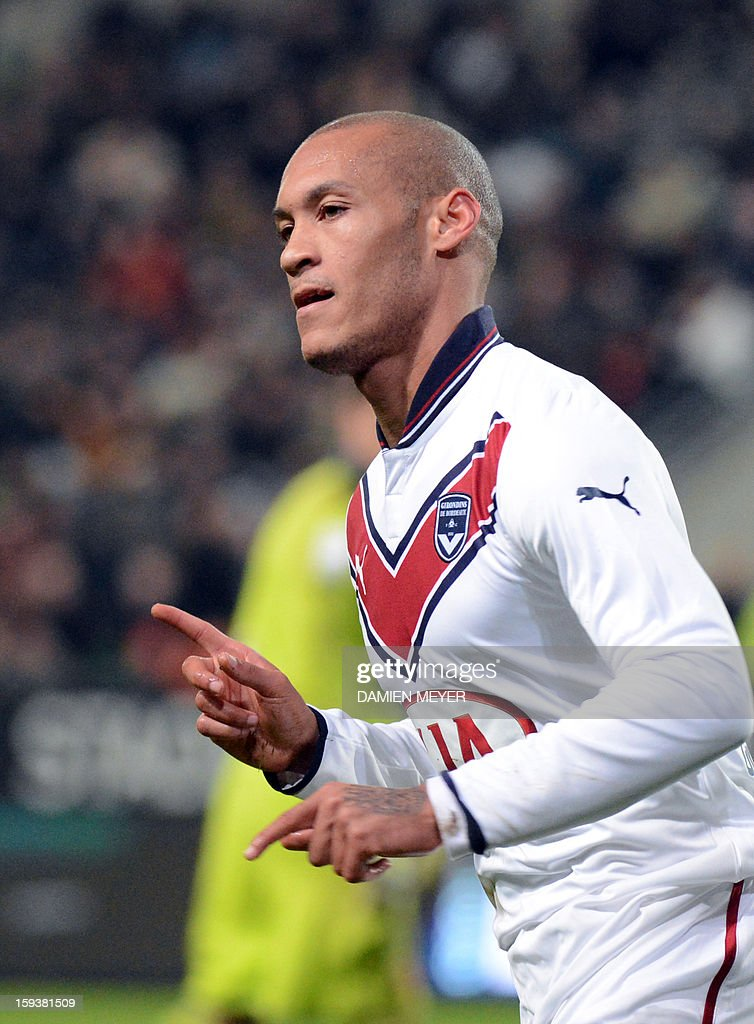 Bordeaux's French forward Yoan Gouffran celebrates scoring a goal during the French L1 football match between Rennes and Bordeaux on January 12, 2013, at the Route de Lorient stadium in Rennes, western France. AFP PHOTO / DAMIEN MEYER