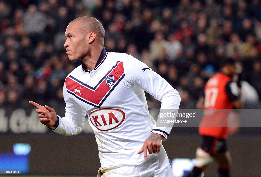Bordeaux's French forward Yoan Gouffran celebrates scoring a goal during the French L1 football match between Rennes and Bordeaux on January 12, 2013, at the Route de Lorient stadium in Rennes, western France.