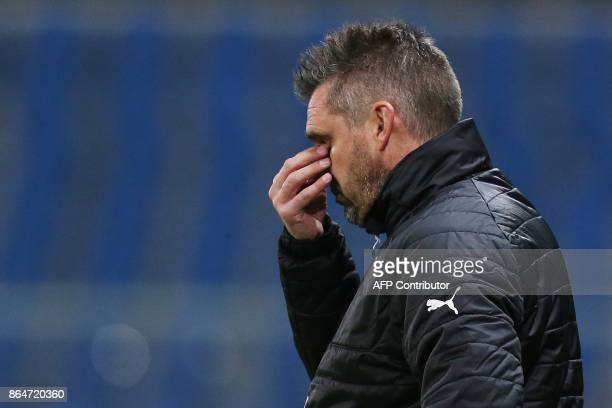 Bordeaux's French head coach Jocelyn Gourvennec reacts during the French L1 football match between Amiens and Bordeaux on October 21 at the Oceane...