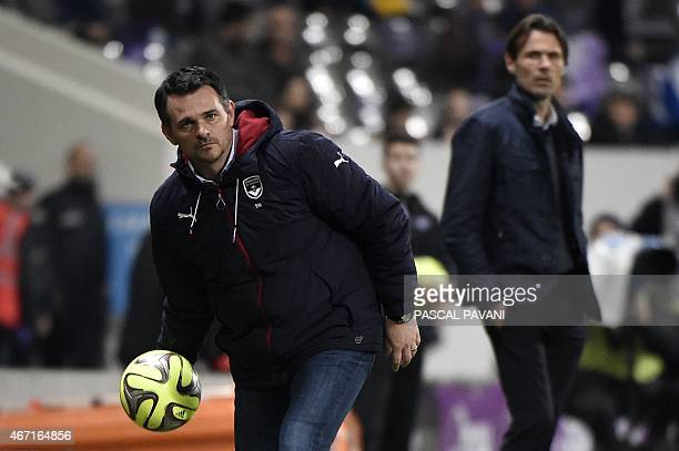 Bordeaux's French head coach Willy Sagnol holds the ball during the French L1 football match Toulouse vs Bordeaux on March 21 2015 at the Municipal...