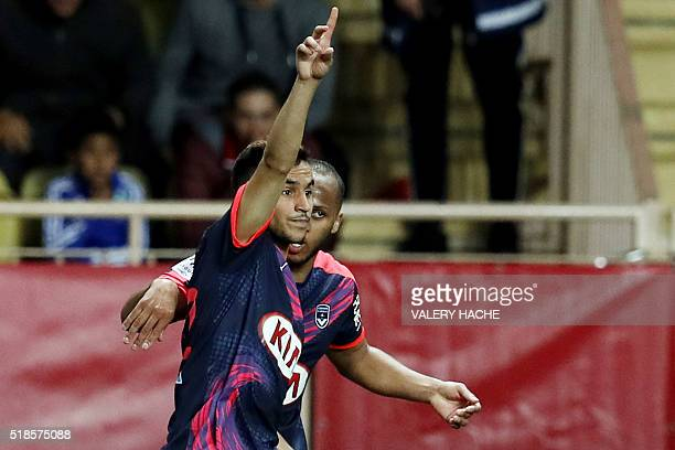 Bordeaux's French midfielder Adam Ounas celebrates after scoring a goal during the French L1 football match Monaco vs Bordeaux on April 1 2016 at the...