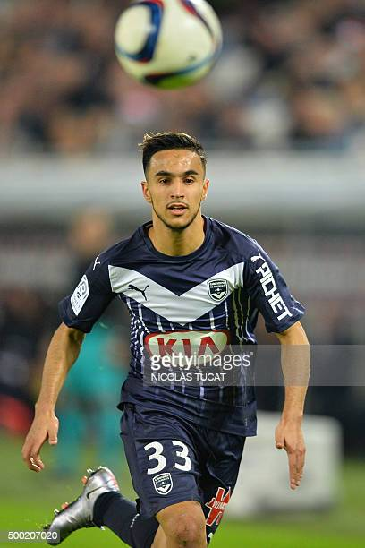 Bordeaux's French midfielder Adam Ounas eyes the ball during the French Ligue1 football match between Bordeaux and Guingamp on December 6 2015 at the...