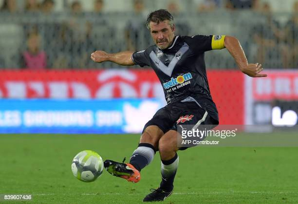 Bordeaux's French midfielder Jeremy Toulalan kicks the ball during the French L1 football match between Bordeaux and Troyes on August 26 2017 at the...