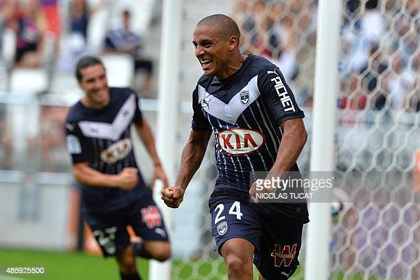 Bordeaux's Frenchborn Tunisian midfielder Wahbi Khazri celebrates after scoring a goal during the French Ligue 1 football match between Bordeaux and...