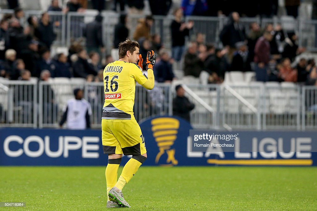 Bordeaux's Goalkeeper <a gi-track='captionPersonalityLinkClicked' href=/galleries/search?phrase=Cedric+Carrasso&family=editorial&specificpeople=661919 ng-click='$event.stopPropagation()'>Cedric Carrasso</a> reacts after the French League Cup quarter final between Bordeaux and Lorient at Stade Matmut Atlantique on January 12, 2016 in Bordeaux, France.
