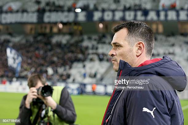 Bordeaux's head coach Willy Sagnol looks on before the French League Cup quarter final between Bordeaux and Lorient at Stade Matmut Atlantique on...