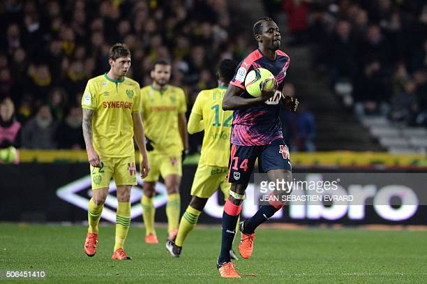 Bordeaux's Malian forward Cheick Diabate reacts after scoring a goal during the French L1 football match between Nantes and Bordeaux on January 23...
