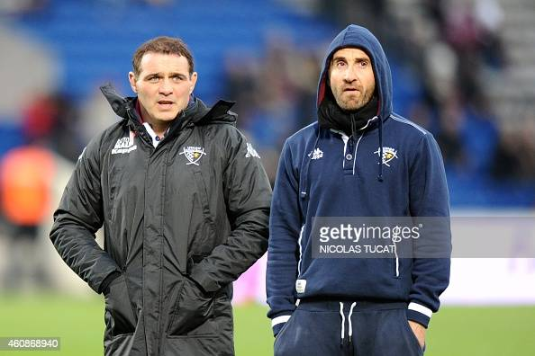 Bordeaux's manager Raphael Ibanez and head coach Vincent Etcheto look on prior to the French Top 14 rugby union match between Union BordeauxBegles...