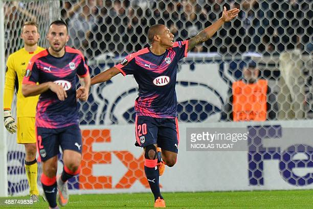 Bordeaux's midfielder Jussie celebrates after scoring a goal during the UEFA Europa League Group B Bordeaux vs Liverpool football match on September...