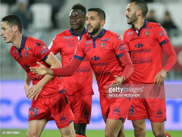 Bordeaux's Mohamed Larbi celebrates with teammates after scoring a goal during the French Ligue 1 football match between Bordeaux and Gazelec Ajaccio...