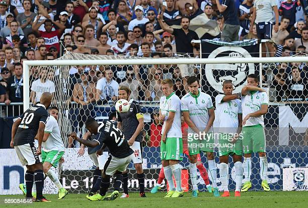 Bordeaux's player Malcom scores a goal after a free kick during the French Ligue 1 football match between Girondins de Bordeaux and AS Saint Etienne...