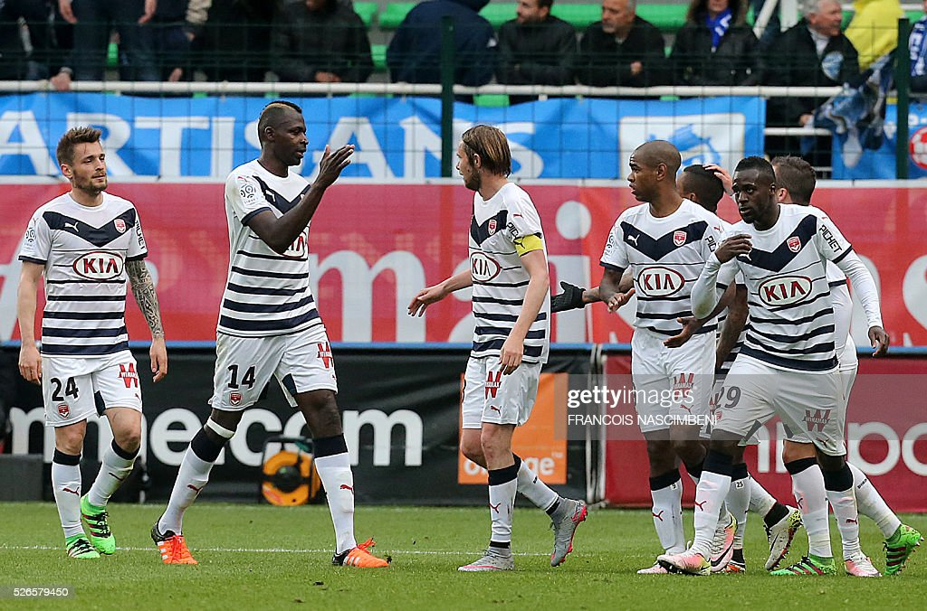 Bordeaux's players celebrate after Troyes scored an own goal during the French L1 football match between Troyes (ESTAC) and Bordeaux (FCGB) on April 30, 2016 at the Aube Stadium in Troyes, eastern France.