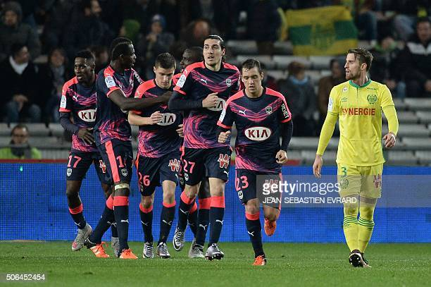 Bordeaux's players react after a goal during the French L1 football match between Nantes and Bordeaux on January 23 2015 at the Beaujoire stadium in...