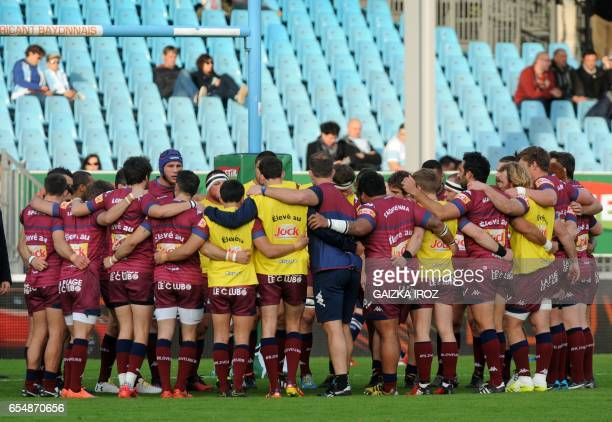 Bordeaux's players unite prior to the French Top 14 rugby union match Aviron Bayonnais vs UBB BordeauxBegles at the JeanDauger stadium on March 18...