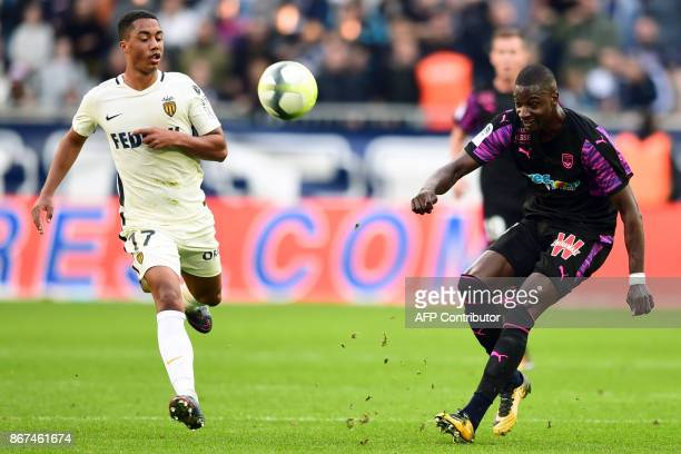 Bordeaux's Senegalese midfielder Younousse Sankhare vies with Monaco's Belgian midfielder Youri Tielemans during the French L1 football match between...