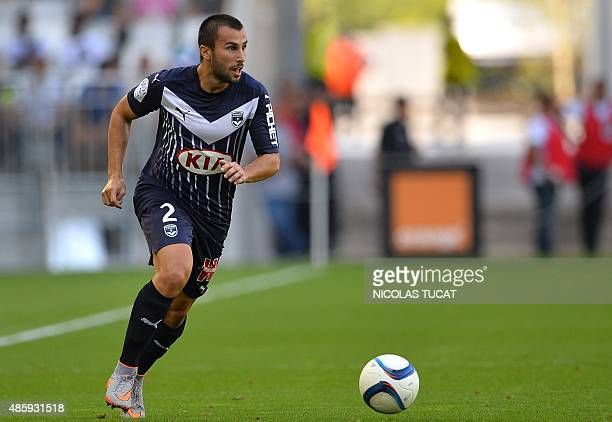 Bordeaux's Serbian defender Milan Gajic runs with the ball during the French Ligue 1 football match between Bordeaux and Nantes on August 30 2015 at...