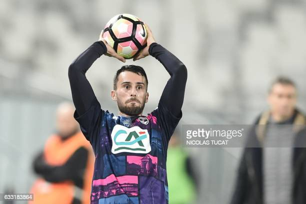 Bordeaux's Serbian defender Milan Gajic throws the ball during the French Cup football match between Bordeaux and Dijon on January 31 2017 at the...