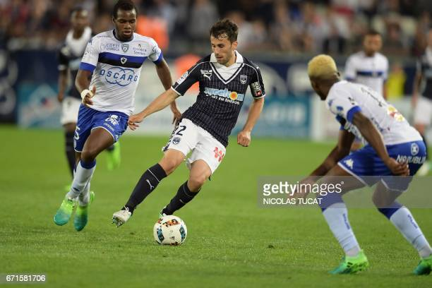 Bordeaux's Serbian defender Milan Gajic vies with Bastia's Malian midfielder Lassana Coulibaly during the French L1 football match between Bordeaux...