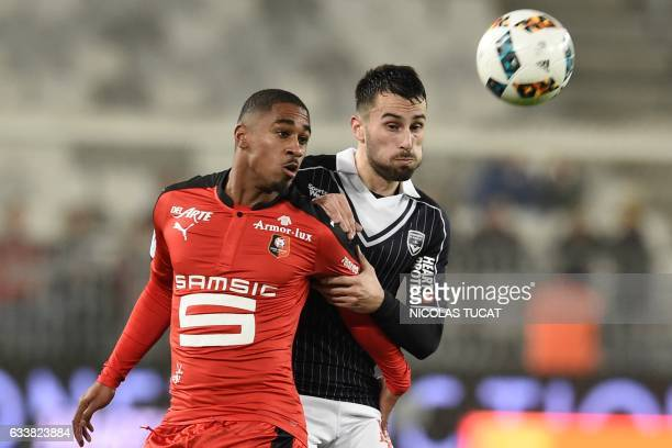 Bordeaux's Serbian defender Milan Gajic vies with Rennes' French forward Wesley Said during the French Ligue 1 football match between Bordeaux and...