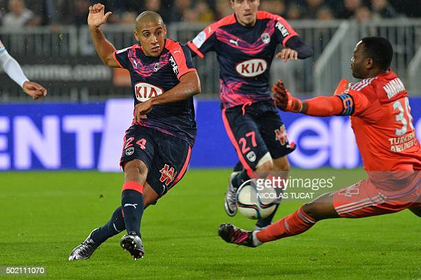 Bordeaux's Tunisian midfielder Wahbi Khazri scores a goal during the French L1 football match between Bordeaux and Marseille on December 20 2015 at...