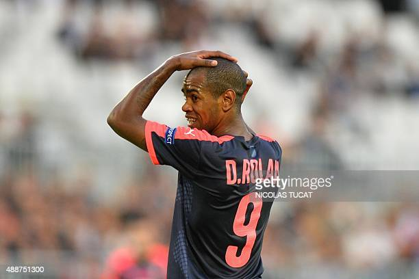Bordeaux's Uruguyan forward Diego Rolan reacts during the group B UEFA Europa League football match between Bordeaux vs Liverpool on September 17...