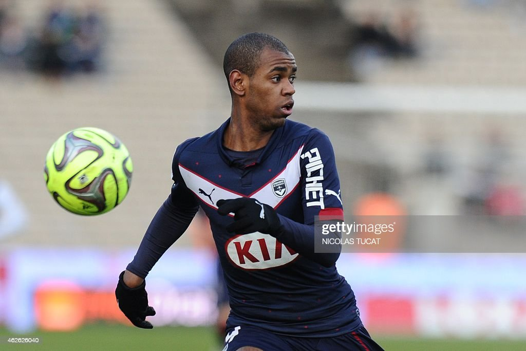 Bordeaux's Uruguyan forward Diego Rolan runs during the French L1 football match between Girondins de Bordeaux (FCGB) and Guingamp at the Chaban-Delmas stadium in Bordeaux, southwestern France, on February 1, 2015.